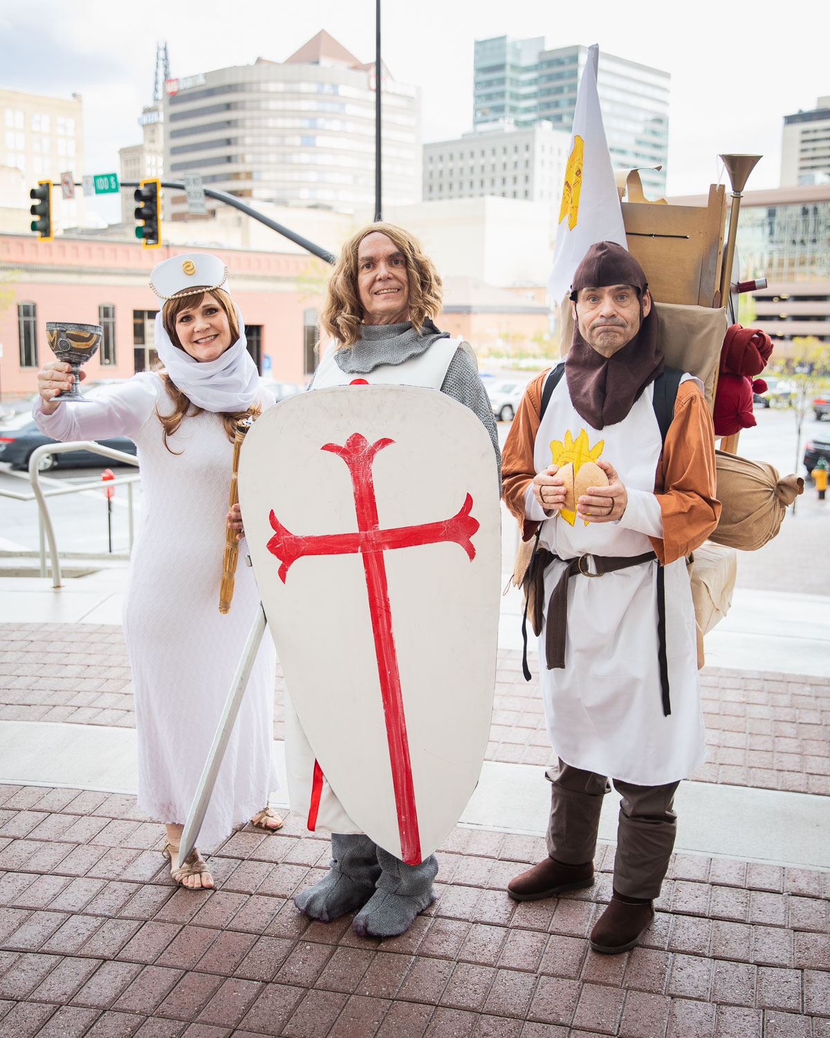 Harold, Roxanne and Frank from HRW Creations donning a hilarious and impressive Monty Python's Holy Grail trio. Photo: @Lmsorenson