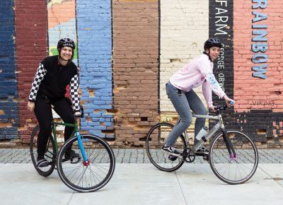 (L–R) Emily Parr and Megan Dunn aim to create more WTF-friendly spaces by forming an all-ladies alleycat race later this year. Photo: Jessica Bundy