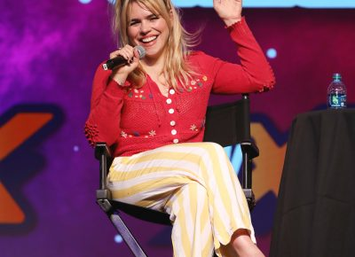 Billie Piper of Doctor Who and other fame, on stage at the Spring FanX event from Salt Lake Comic Convention. Photo: @Lmsorenson