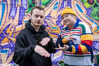 (L–R) Clësh and Earthworm have found a stable ground for musical creativity in Ogden, Utah and with each other. Photo: John Barkiple