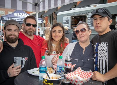 """(L-R) Collin Chipping, Mike Chipping, Gaby Zambrana, Casey Chipping and Hayden Jackson enjoy the spring weather at Brewstillery. Collin particularly enjoyed his """"fantastic"""" rye cream ale. Photo: John Barkiple"""