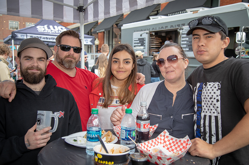 "(L-R) Collin Chipping, Mike Chipping, Gaby Zambrana, Casey Chipping and Hayden Jackson enjoy the spring weather at Brewstillery. Collin particularly enjoyed his ""fantastic"" rye cream ale. Photo: John Barkiple"