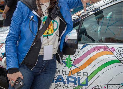 Angela Brown, SLUG Magazine Executive Editor, appreciates the support Brewstillery received through Mark Miller Subaru's sponsorship. Photo: John Barkiple
