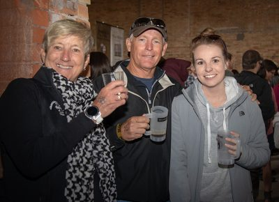 (L-R) Becky, Keith and Jamie Kearns sample beers in Brewstillery's main space. Keith liked the creaminess of Vernal Brewing Company's Mama's Milk Stout Beer. Photo: John Barkiple