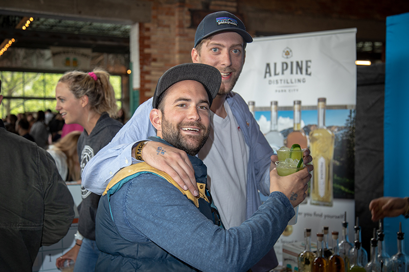 (L-R) Earle Lindel IV and Dave Pavone couldn't get enough of the cocktails shaken up by Alpine Distilling (with cucumber juice, lemon juice, zaatar spices and Alpine's Summit Gin). It's a drink worthy of every one of Lindel's drink tokens. Photo: John Barkiple