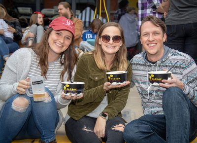 (L-R) Marie Vann, Caitlyn Cole and Caleb Wray dig into some Cup Bop. They're pleased that Cup Bop offers veggie options like tofu for their bowls. The optional spice levels are nice, too. Photo: John Barkiple