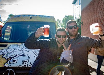 (L-R) Brothers Holden and Warren King remember their first drink together—Blue Moon beers when Holden visited Warren at Colorado College. Photo: John Barkiple