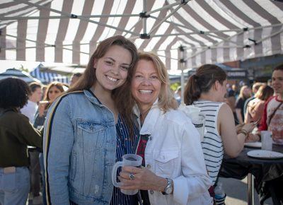 (L-R) Emily and Kathy Durka are still waiting for their Cup Bop bowls, but they don't mind. Kathy likes the sunshine, the music and the people-watching, Photo: John Barkiple