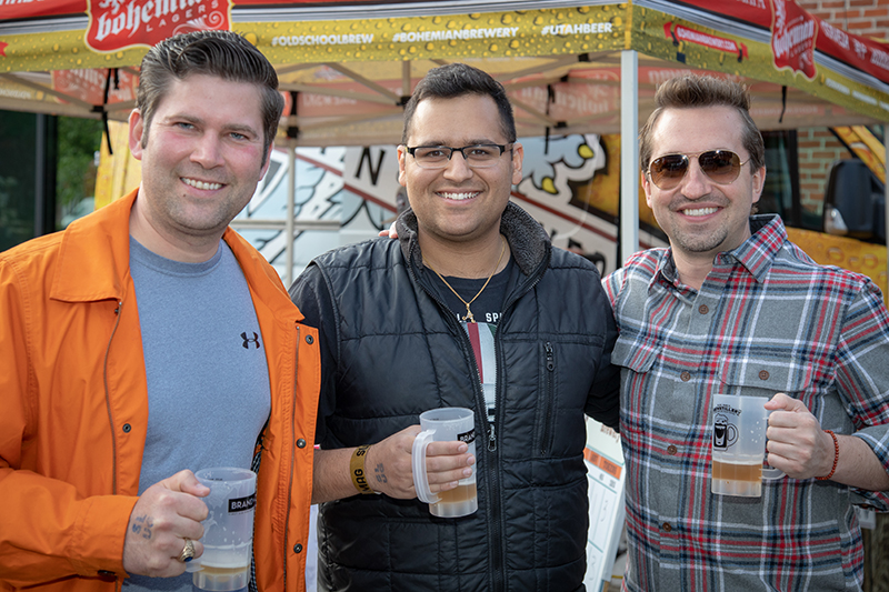 (L-R) Ben, Anuj and Tyler liked Salt Flat's hefe, Bohemian's Sir-Veza and Roosters Brewing Co. respectively. Photo: John Barkiple