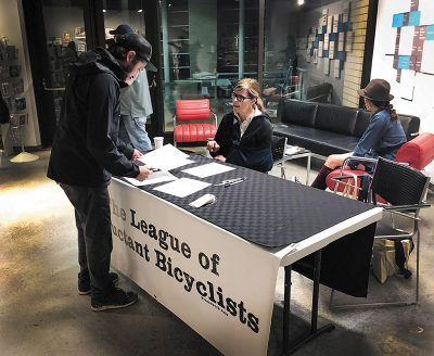 UMOCA Artist-in-Residence Megan Hallett will show the outcome of The League of Reluctant Bicyclists at the museum on June 28. Photo: Kerri Hopkins