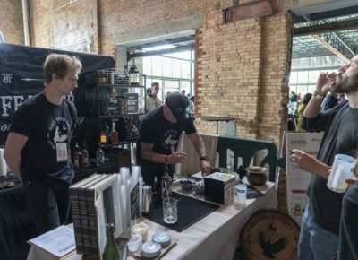 Black Feather Whiskey serving some samples. Photo: Jayson Ross
