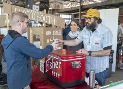 Fisher Beer serving a participant. Photo: Jayson Ross