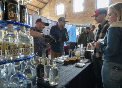 Participants waiting for their samples from Salt City Vodka. Photo: Jayson Ross
