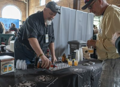 Outlaw Distillery serving some samples. Photo: Jayson Ross
