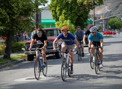 First-place finisher Pat Hunt, Clint Campbell and Pete Watson race to Blue Copper Coffee for the first stamp on their manifests. Hunt recently rode 1000 miles on HWY 101 and I-84 and HWY 20 on a tour. He was surprised by super generous strangers who sometimes just gave him money to help keep him on the road. The Warm Showers app also helped him find places to stay in exchange for light chores or friendly conversation. Photo: Kaylynn Gonazlez
