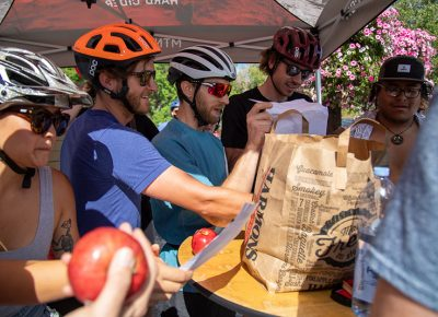 Alicia Chen, first-place finisher Clint Campbell, Pete Watson, Aaron Larson and second-place finisher Carlos Garcia complete an apple-themed task at Mountain West Hard Cider. Chen didn't expect the 2019 SLUG Cat to sting as much as it did. The headwind and mileage convinced her to bring her fast bike next year—and bib shorts. Photo: Kaylynn Gonazlez