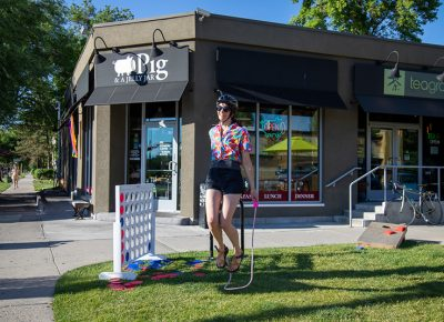 Amelia Wallace jumps rope in front of Pig & a Jelly Jar to earn a stamp for her manifest. Photo: Kaylynn Gonazlez