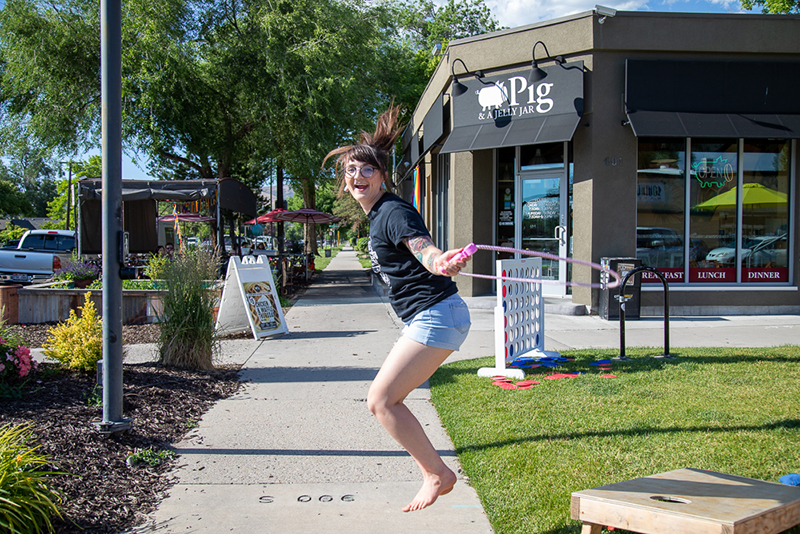 SLUG Magazine's Alyssa H. practices her rope jumping in anticipation of the SLUG Cat racers arrival. She's in charge of the Pig & a Jelly Jar check-in station. Photo: Kaylynn Gonazlez