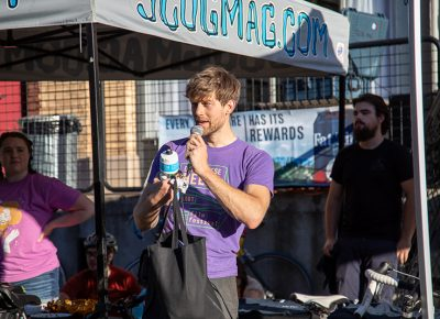 Three-time SLUG Cat champion Davey Davis tells the story of how he handicapped himself by riding SLUG Magazine's old beater that he won in 2018's SLUG Cat. Davis gave the bike to 2019 winner Clint Campbell. Perhaps it will continue to serve as a traveling trophy for the 8th Annual SLUG Cat in 2020. Photo: Kaylynn Gonazlez