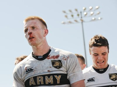 ean Berry of Army West Point Rugby cools down after the tough fight of a match, 2016.