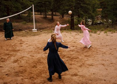 Members of the Fundamentalist Church of Latter-Day Saints play volleyball at a home in Westcliffe, Colorado on July 28, 2008.