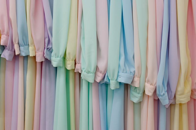 A rack of pastel dresses in the sewing room at the Fundamentalist Church of Latter-Day Saints' YFZ Ranch near Eldorado, Texas on June 26, 2008.