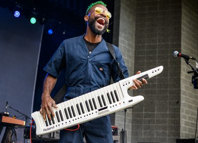 David Moon shows off his happiest face when he pulls out his keytar.