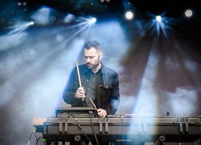 Jacob Gossett of Beacon beats his drum machine.