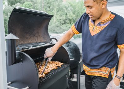 Chef Abudu takes full advantage of the Traeger grills to prepare his delicious jerk chicken. Photo: Talyn Sherer