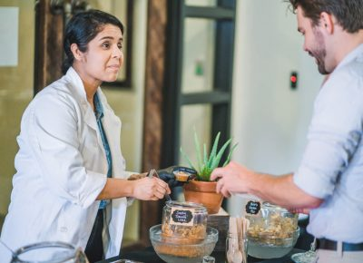 Salsa Chef Merab discusses her business model—doorstop delivery of her delicious homemade salsas. Photo: Talyn Sherer