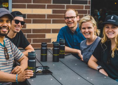 (L-R) Jonathan Herrera, Seth King, Rich Doxey,Betsy Broadwater and Kara Esplin came out to represent Discover Food Festival sponsor Cotopaxi. Photo: Talyn Sherer