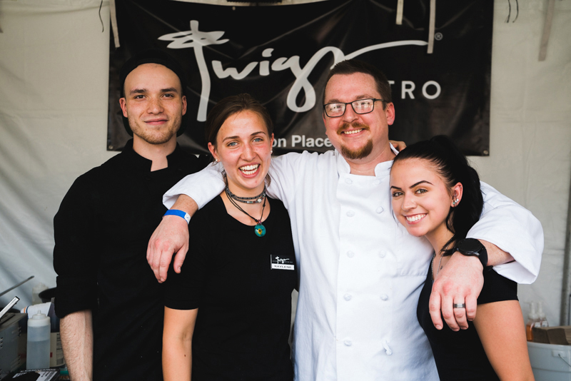 (L–R) Jade Earle, Kaylene Affleck,Chef Scotty and Caitlin Nolen make up the food crew of Twigs Bistro.