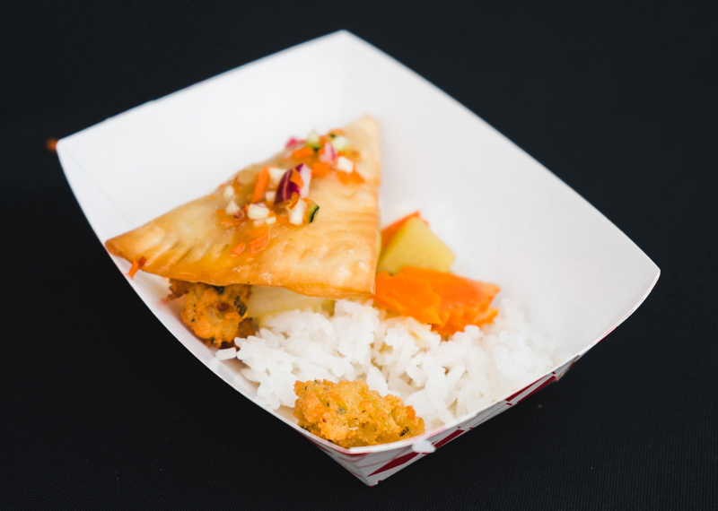 Fav Bistro had one of the longest lines of the night while people waited to get their hands on this delicious vegetarian dish of popcorn tofu, curry puffs and rice with curry sauce.