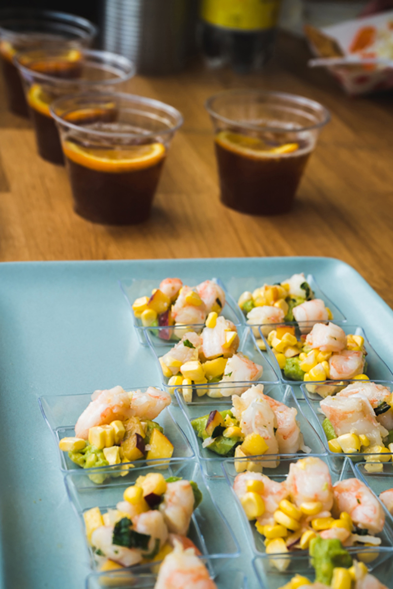 Campos Coffee sampled some Ethiopia cold brew and maple spritz to pair with a shrimp salad, complete with peach corn and avocado.