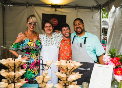 (L–R) Allison Davis, Ian Hendry, Samuel Green and Chef Justin make up the culinary crew behind Stoneground Kitchen.