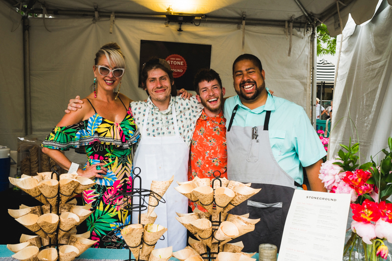 (L–R) Allison Davis,Ian Hendry,Samuel Green and Chef Justin make up the culinary crew behind Stoneground Kitchen.