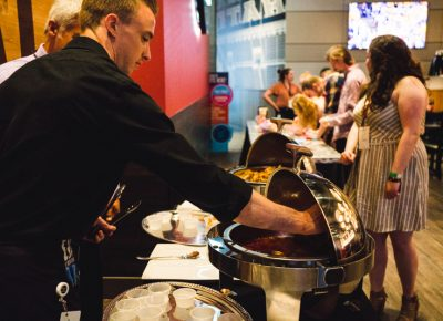 Over at Dave & Busters, Tastemakers patrons are welcomed with meatballs and potstickers.
