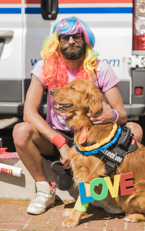 Aj and his dog Harpua were decked to the nines for this year's Pride parade.