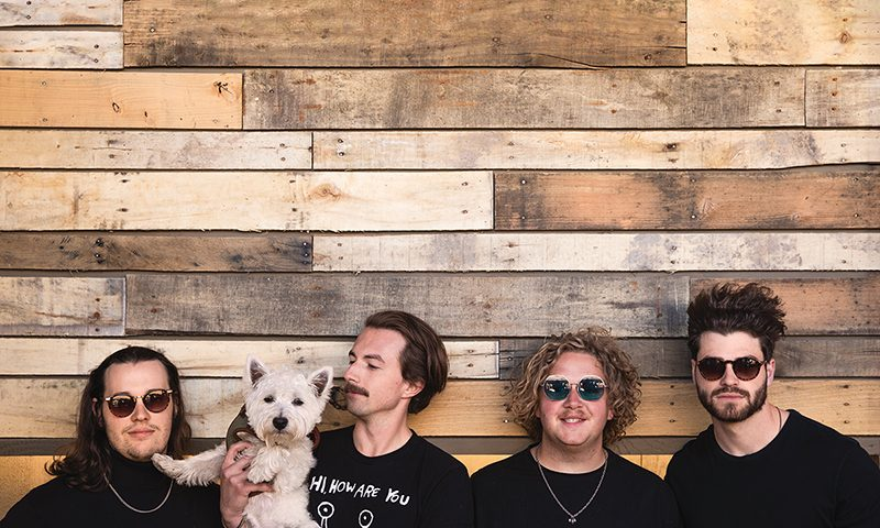 "(L–R) Peter LaBarge, Sir Quincy of the Highland, Paul Zuniga, Benton Wood and Cole Eisenhour come from Ogden to show Utah and beyond their ""damn good pop."""