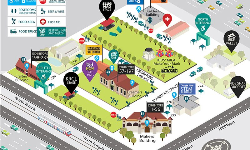 A map of the Craft Lake City DIY Festival, held at the Utah State Fairgrounds