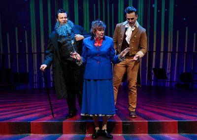 Justin Ivie, Annette Wright, and Robert Scott Smith in Salt Lake Acting Company's Saturday's Voyeur 2019.