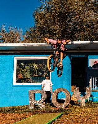 The Mayor of Roy (front) addresses city affairs through BMX tricks and aimless pranks.