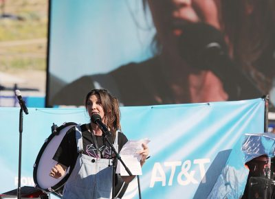 Nico Vega, musician, guest speaker and wife of Founder Dan Reynolds takes the middle stage to read her thoughts and express her support for the mission of Loveloud.