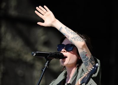 Tegan of Tegan and Sara searching the crowd for a potential match for her sister.