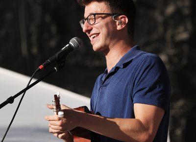 AJR member Ryan on stage playing the Uke at Loveloud.