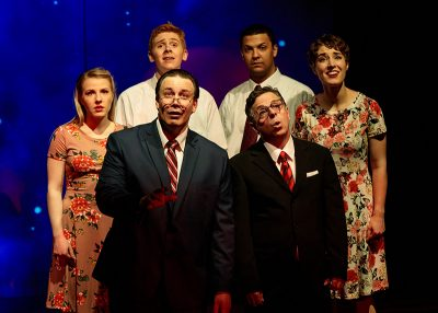 Fiona Hannan, Justin Ivie, Matthew Tripp, Bradley Hatch, Dan Larrinaga and Madi Cooper in Salt Lake Acting Company's Saturday's Voyeur 2019.
