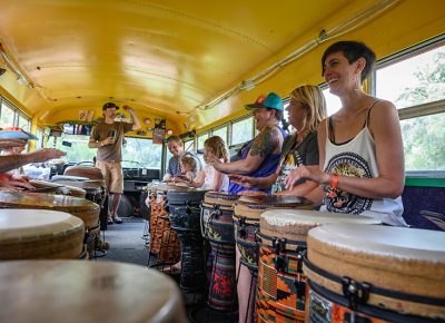 Good vibes and good times in the drum bus.
