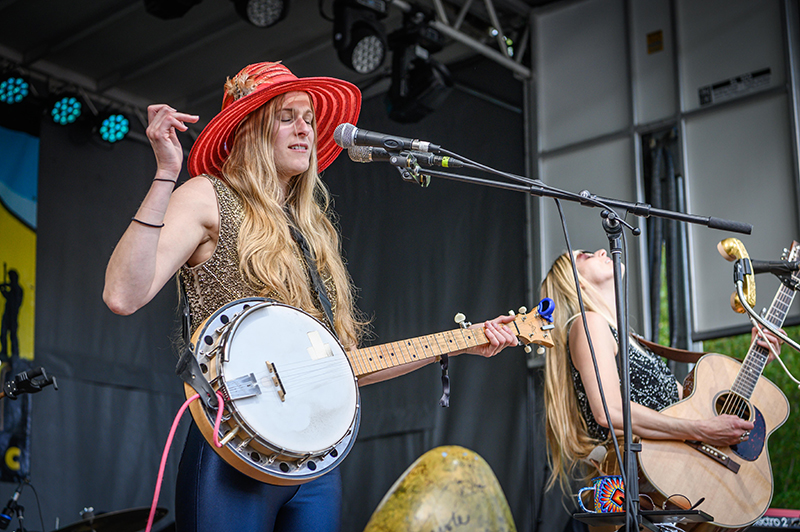 The Shook Twins feeling the moment during their performance at the Ogden Music Festival