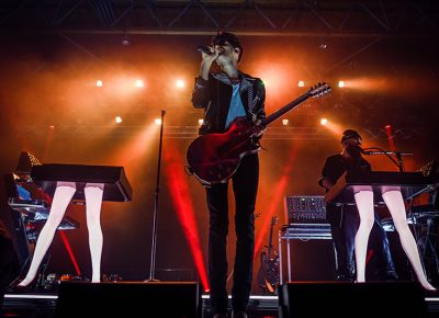 Chromeo perform by their iconic keyboards.