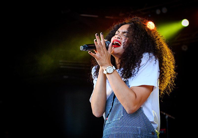 Opener Nicole Bus soulfully sings to Salt Lake City on Friday night at the Gallivan Center.